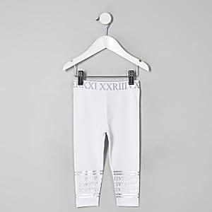 Mini - Witte legging met zilverfolie voor meisjes