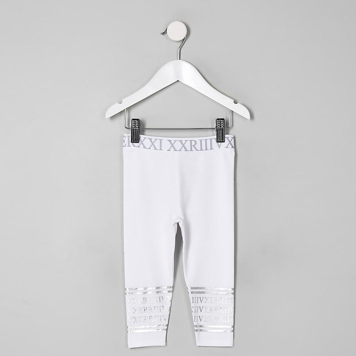 Mini girls white silver foil leggings