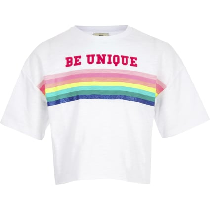 Girls white 'be unique' print T-shirt