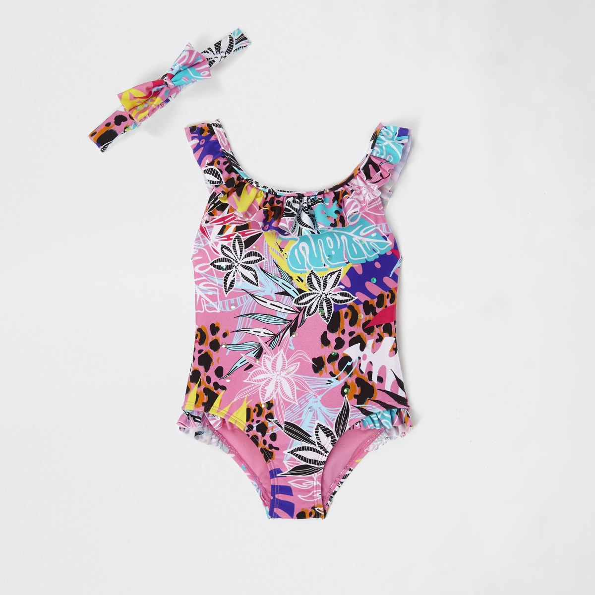 Mini girls pink floral frill swimsuit set