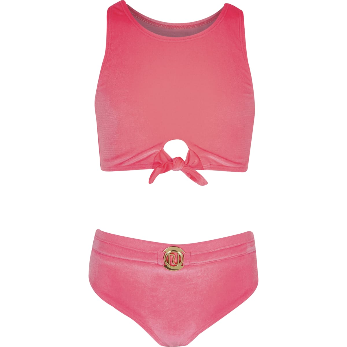 Girls pink velvet knot front crop bikini top