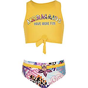 Gele gebloemde bikini met strik voor meisjes