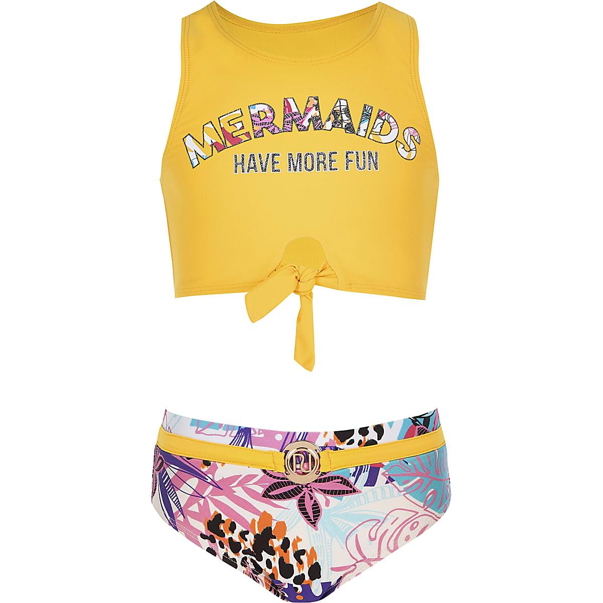 Girls yellow floral tie front bikini set