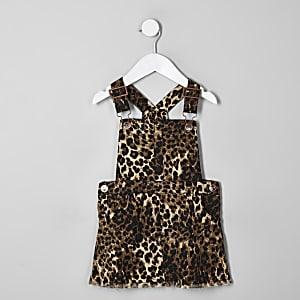 Mini - Bruine overgooier met luipaardprint voor meisjes