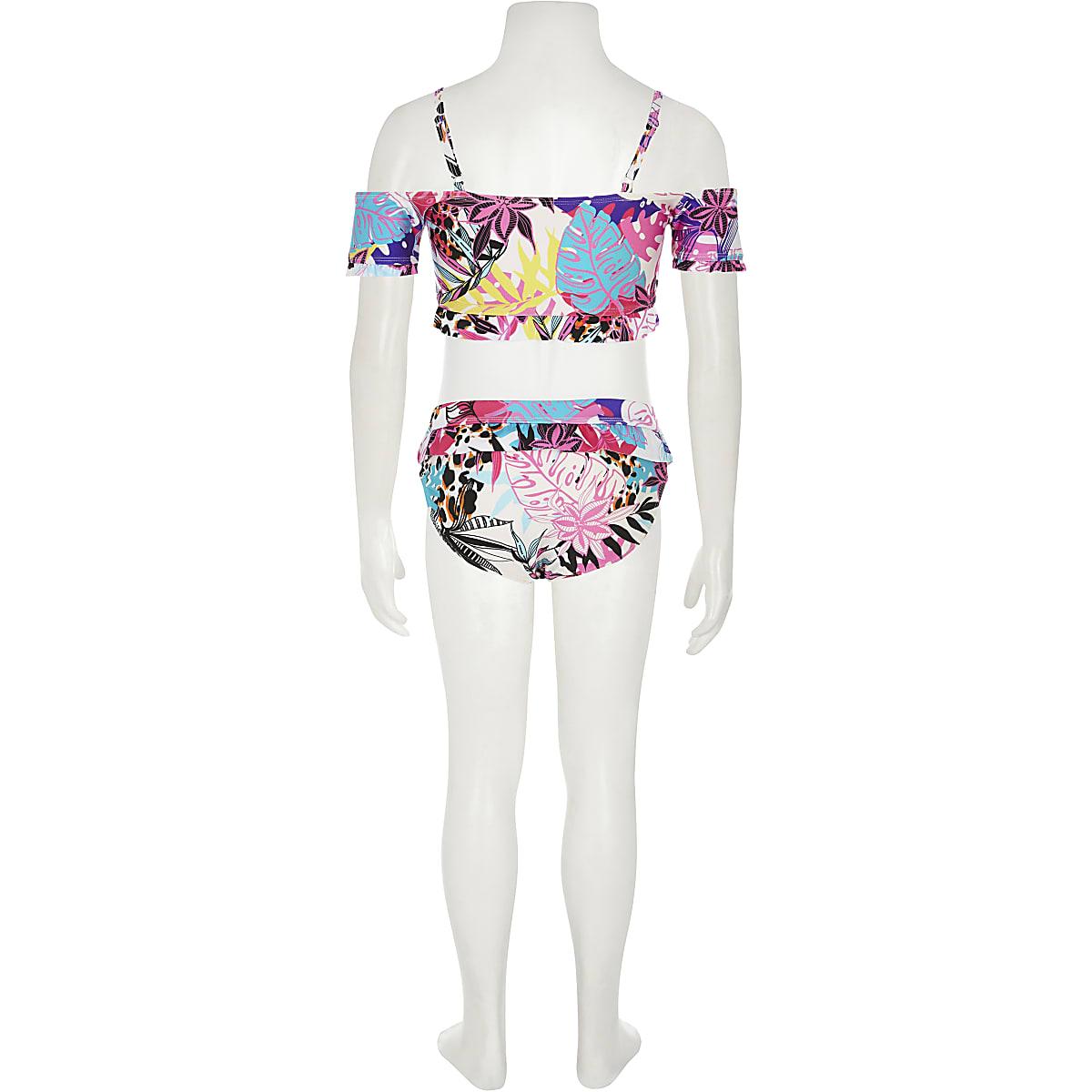 c58eca7f7 Girls white tropical print bardot bikini top - Bikinis - Swimwear ...