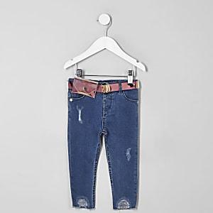 Mini girls blue Amelie holographic belt jeans
