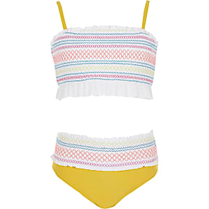 Girls white shirred frill bikini set