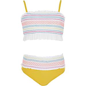 Girls white shirred frill bikini set