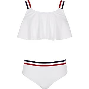 Weißes, gestreiftes Bikini-Set