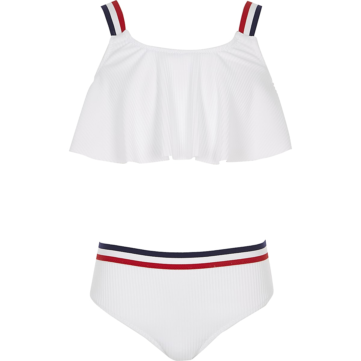 Girls white stripe elastic bikini set