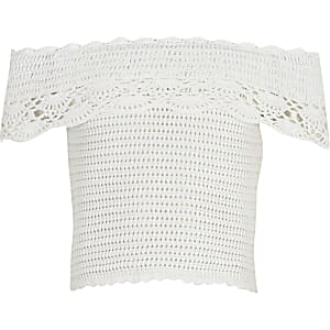 Girls white crochet bardot top