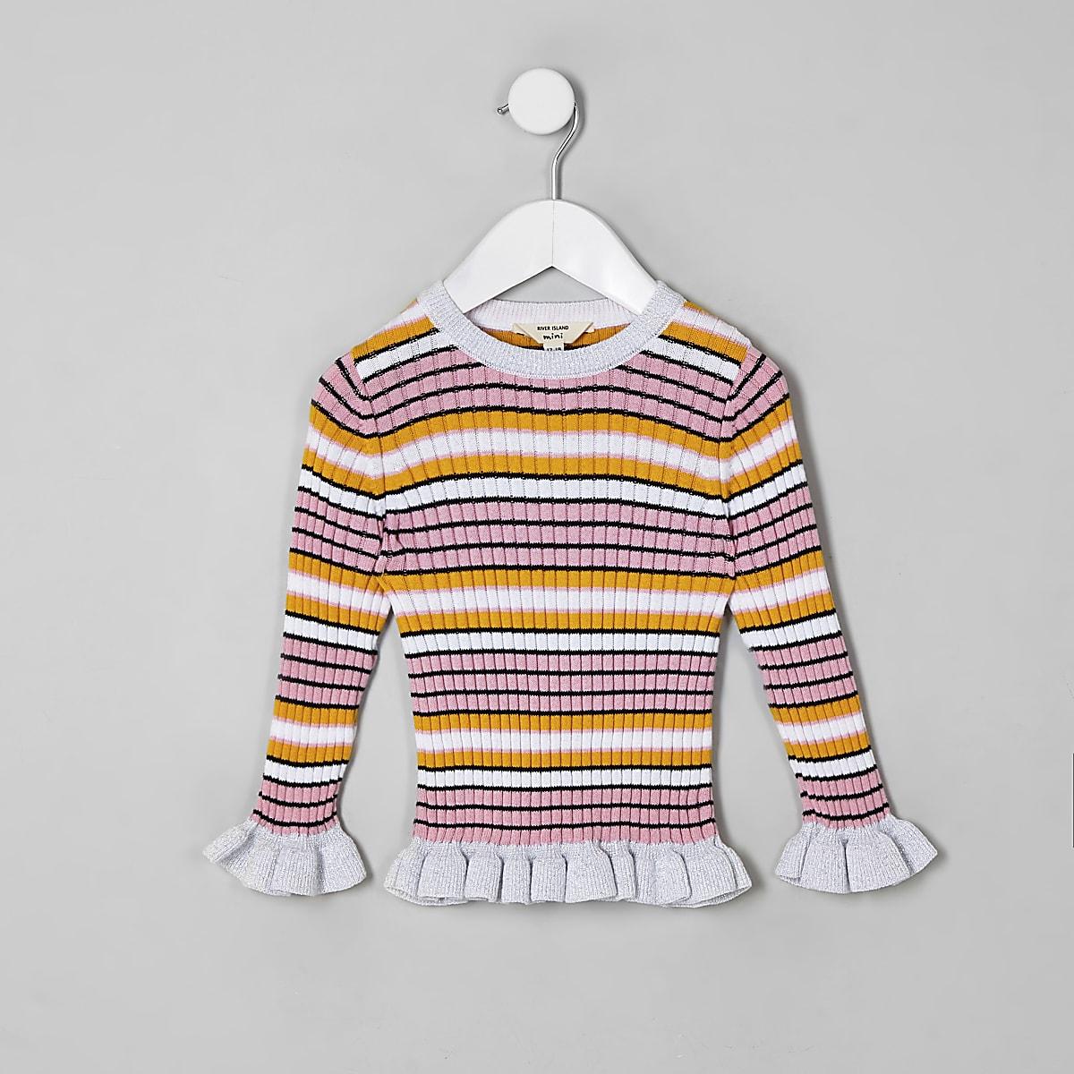Mini - Roze gestreepte pullover met ruches voor meisjes