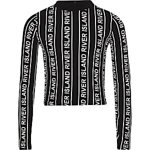 Schwarzes, hochgeschlossenes Oberteil mit Streifen