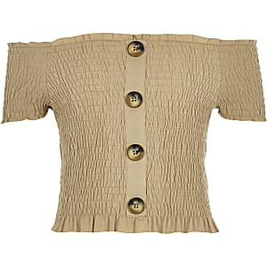 Girls light brown button through bardot top