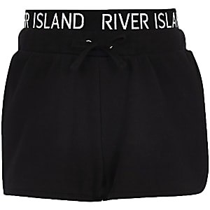 Girls black RI waistband runner shorts