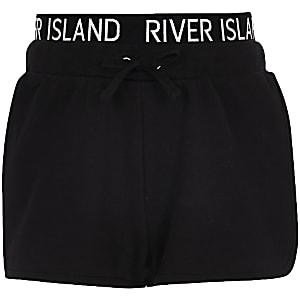 Zwarte hardloopshort met RI-print op tailleband voor meisjes