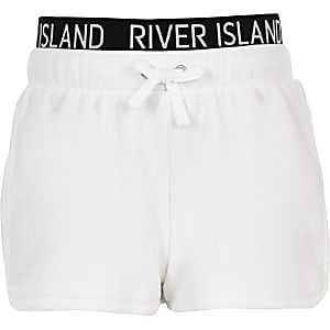Witte hardloopshort met RI-print op tailleband voor meisjes