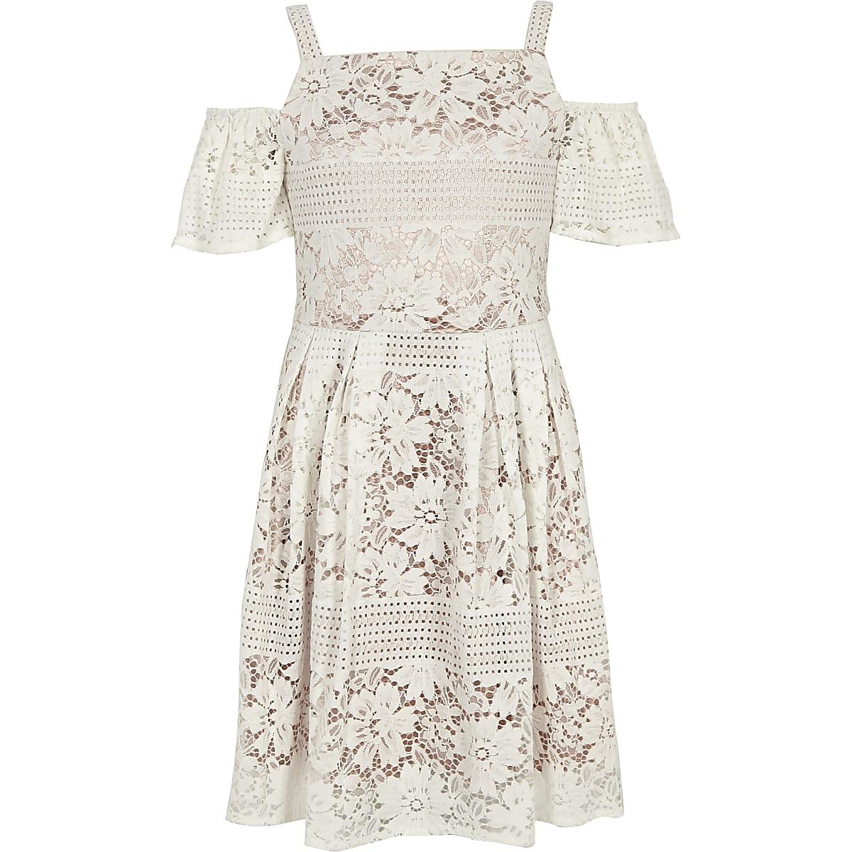 Crèmekleurige kanten schouderloze jurk voor meisjes