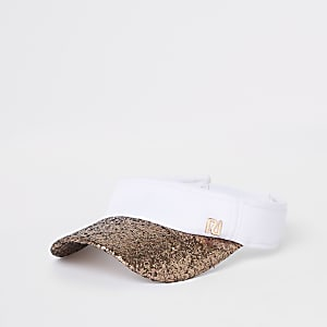 Girls rose gold glitter visor cap