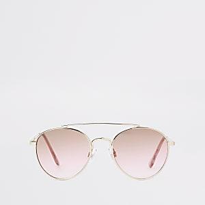 Lunettes de soleil aviateur dorées à verres roses pour fille