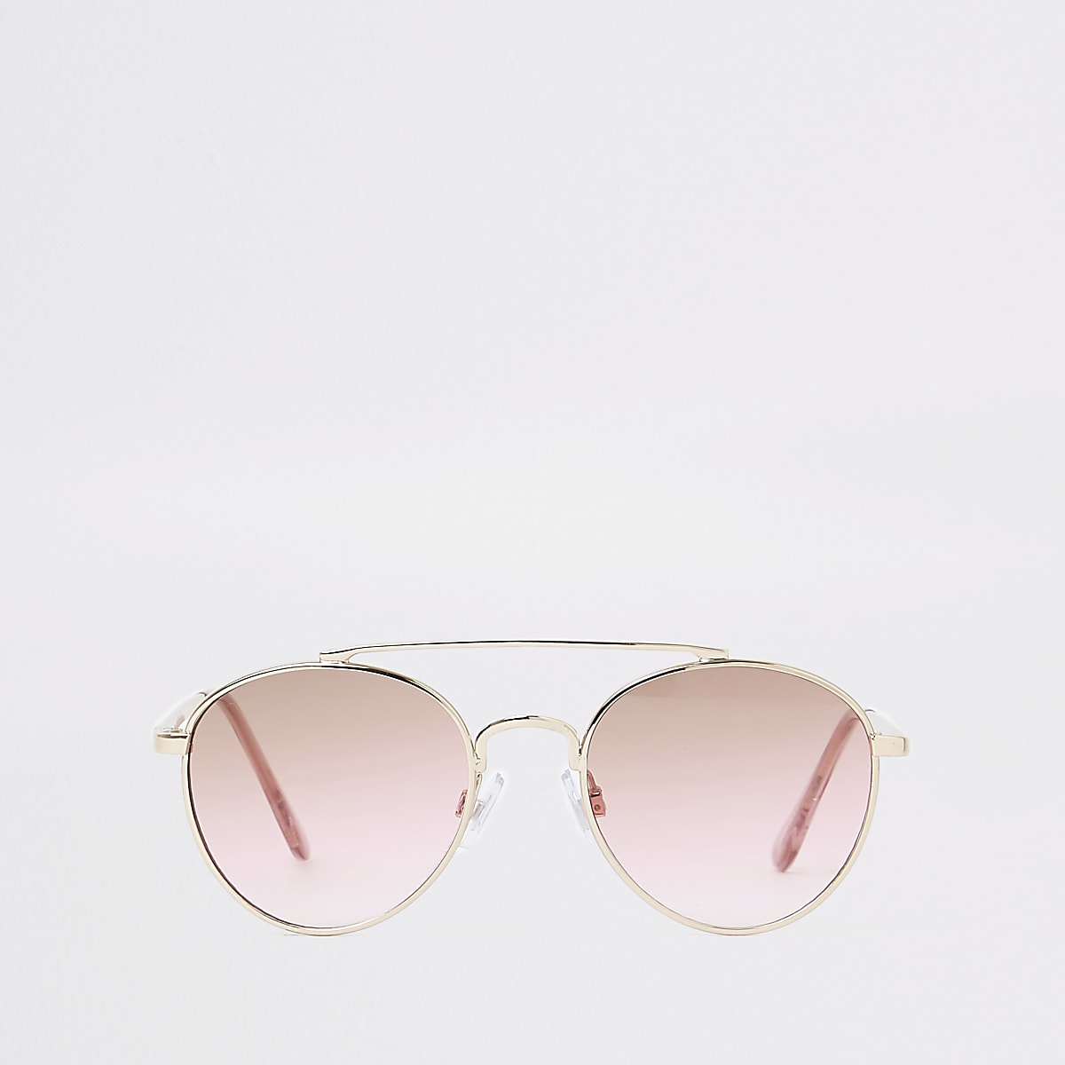 Girls gold pink lens aviator sunglasses