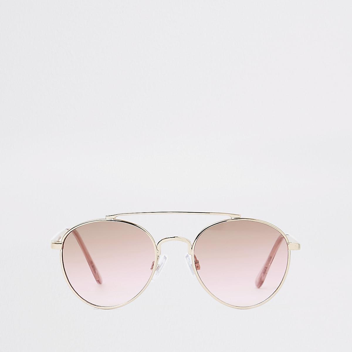 Girls gold pink lens aviator sunglasses