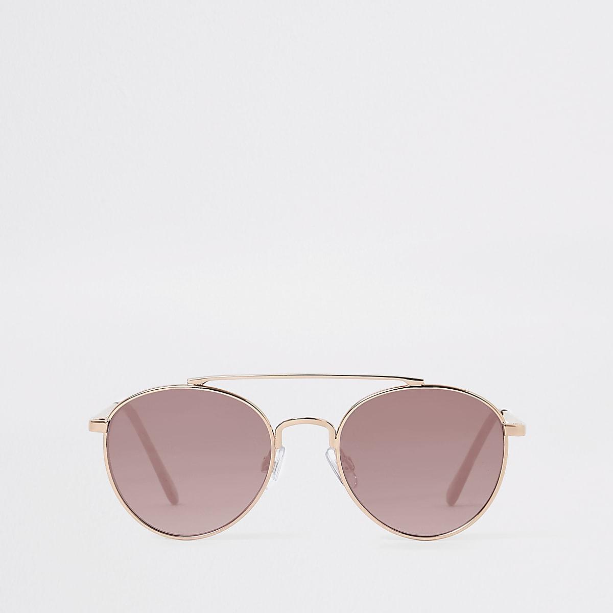 Girls rose gold aviator sunglasses