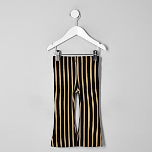 Mini girls beige stripe flare trousers