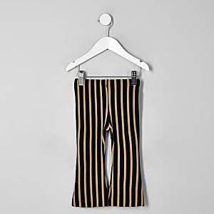 Mini girls beige stripe flare pants