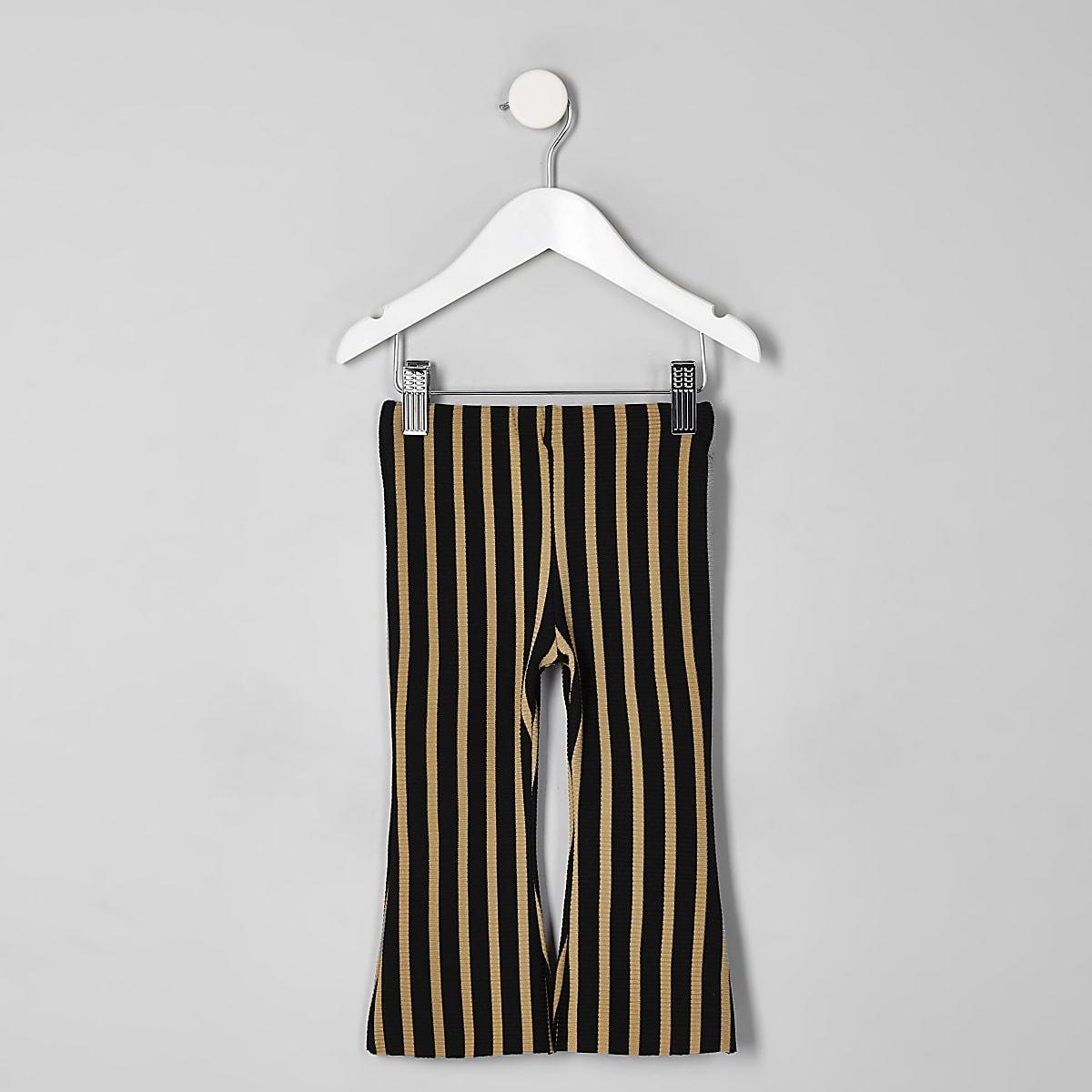 Mini girls beige stripe flare trousers