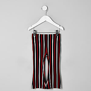Mini girls red stripe flare pants