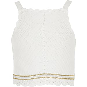 Top au crochet blanc pour fille
