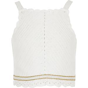 Witte gehaakte top voor meisjes