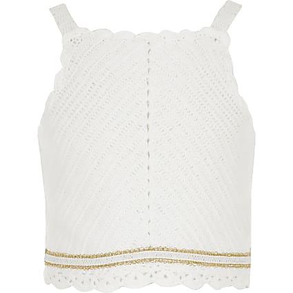 Girls white crochet top