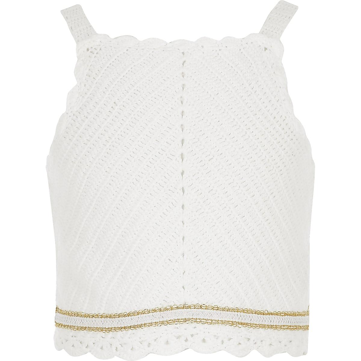 Girls White Crochet Top Cardigans Jumpers Tops Girls