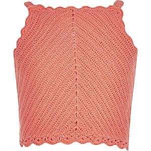 Koraalrode gehaakte crop top voor meisjes
