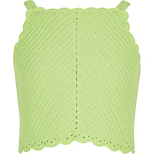 Girls green crochet crop top