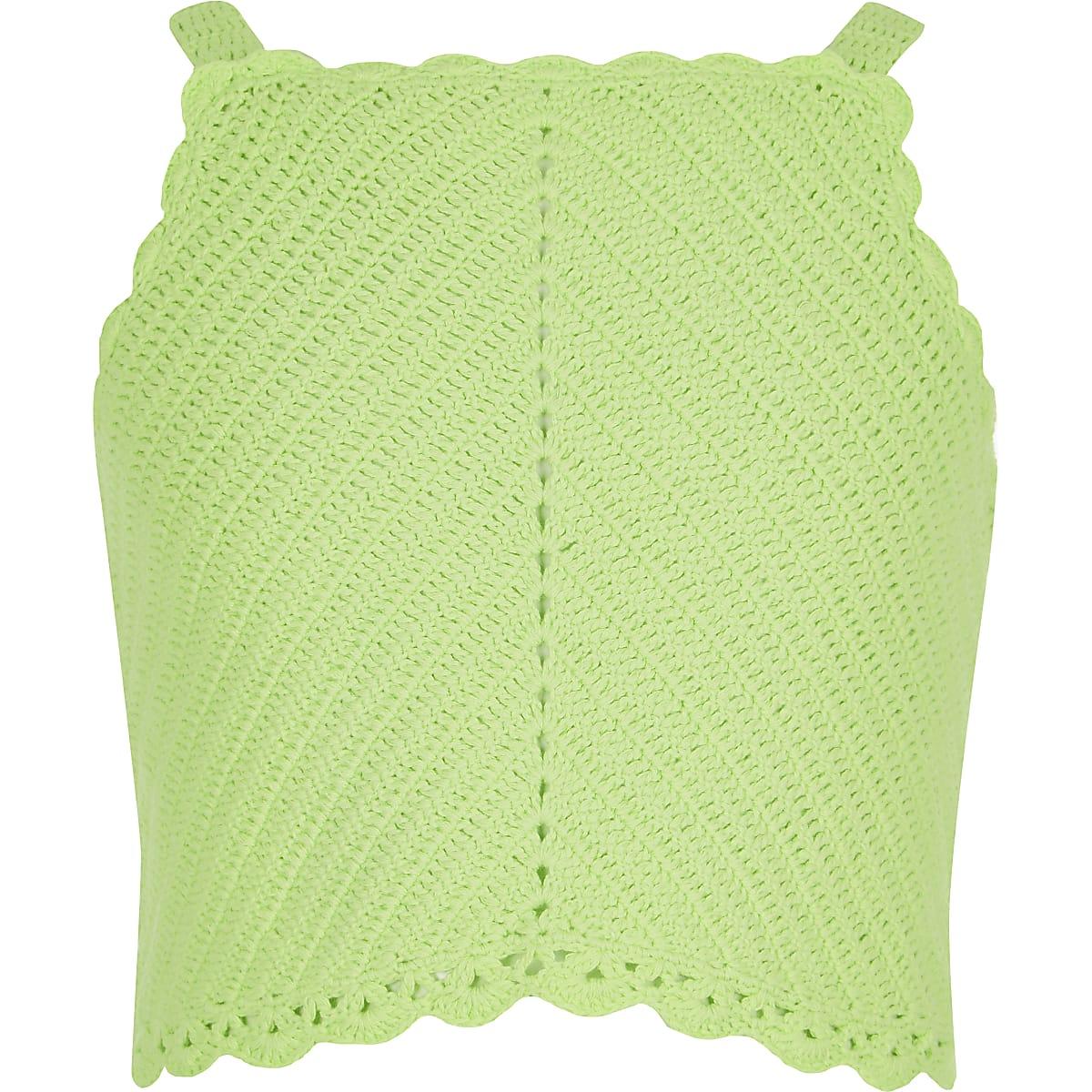 Girls green crochet crop top