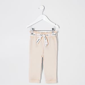 Mini girls pink paperbag pants