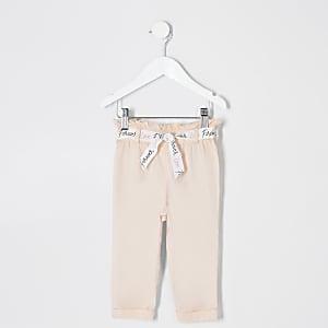 Pantalon rose à taille haute ceinturée mini fille