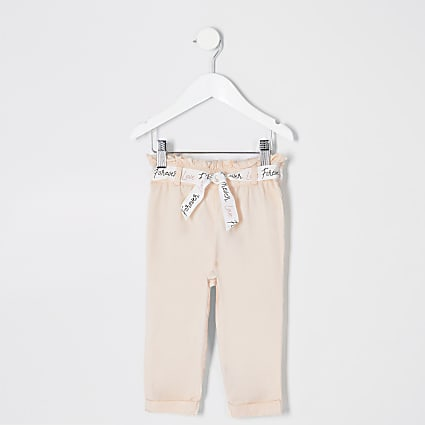 Mini girls pink paperbag trousers