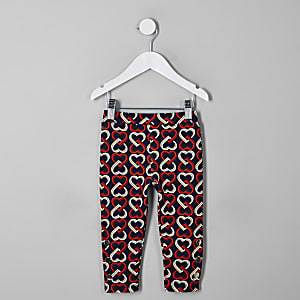 Mini girls navy heart print leggings
