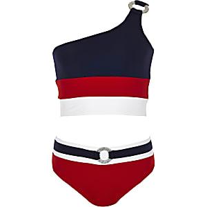 Marineblauwe bikiniset met blote schouder en blokprint voor meisjes