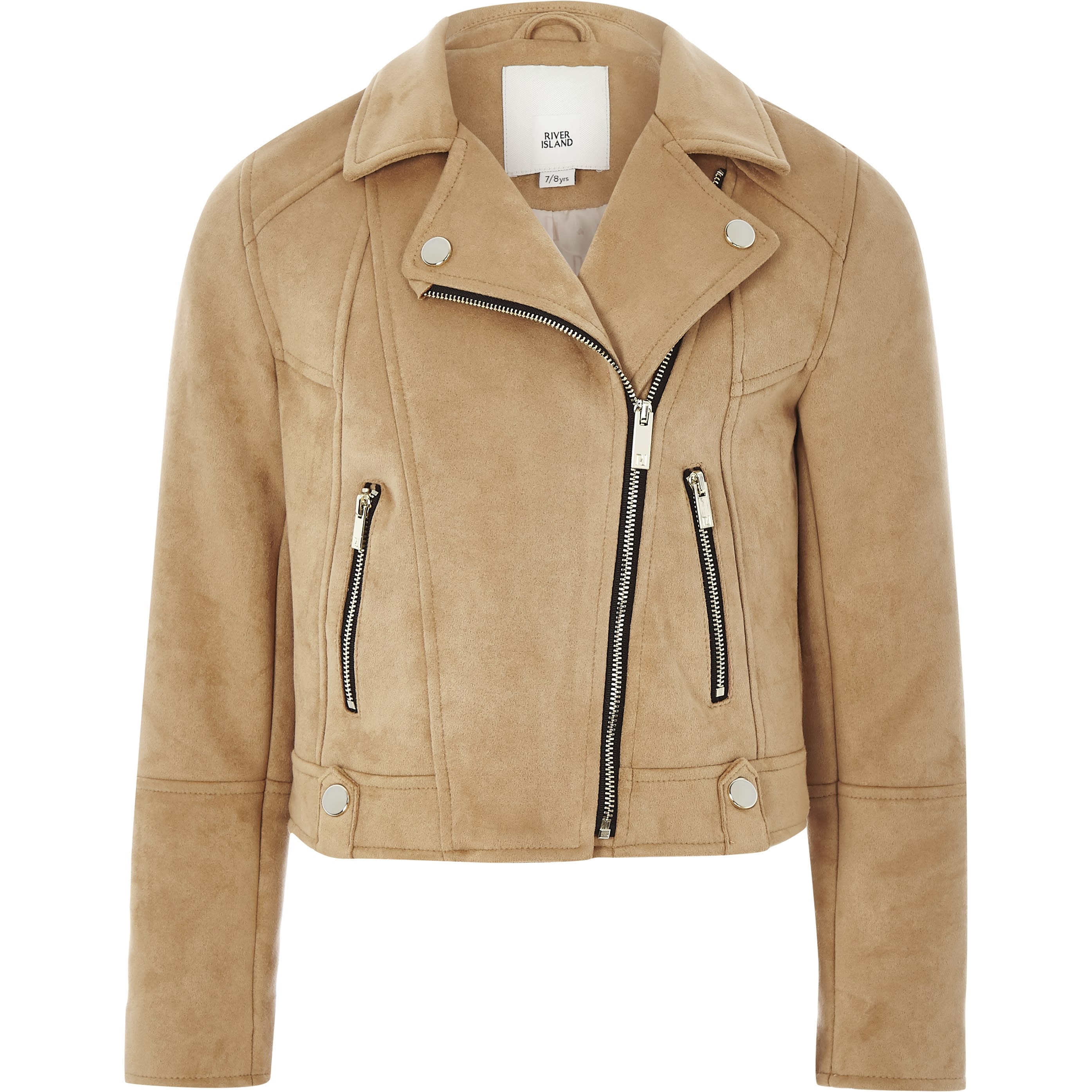 RIVER ISLAND | Girls Brown Faux Suede Biker Jacket | Goxip