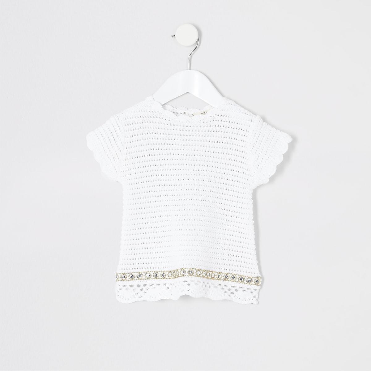 Mini girls white crochet T-shirt