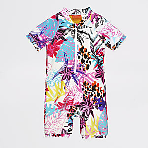 Mini girls tropical print all in one swimsuit