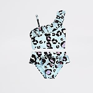 Mini - Blauwe tankini met luipaardprint voor meisjes
