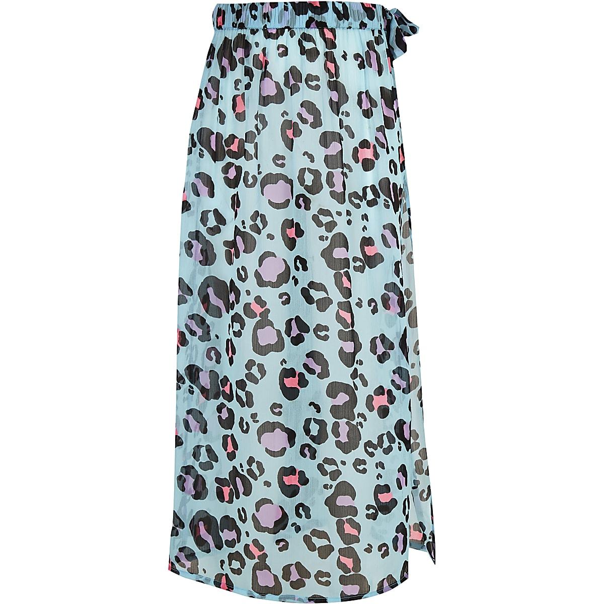 Girls blue leopard print beach skirt
