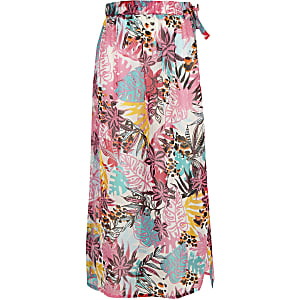 Girls white tropical beach skirt