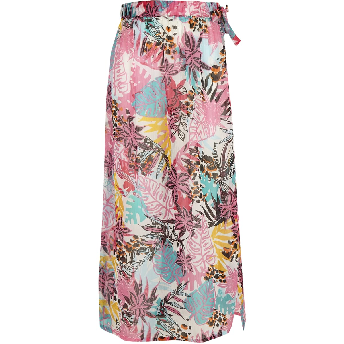 Girls white tropical beach skirt